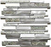 Mosaik Fliese Quarzit Naturstein Aluminium silber