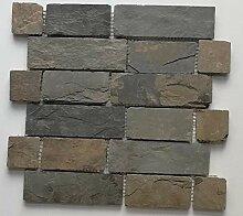 Mosaik Fliese Schiefer Naturstein Brick braun rost