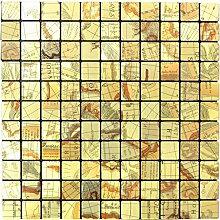 Mosaik Fliese selbstklebend Aluminium gold metall