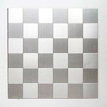 Mosaik Fliese selbstklebend Aluminium silber