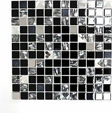 Mosaik Fliese selbstklebend Transluzent Edelstahl