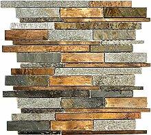 Mosaik Fliese Stein Kupfer grau rost kupfer