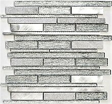 Mosaik Fliese Transluzent Aluminium weiß silber