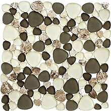 Mosaik Fliese Transluzent beige Kiesel Glasmosaik