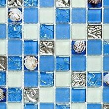 Mosaik Fliese Transluzent blau Glasmosaik Crystal