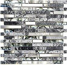 Mosaik Fliese Transluzent Edelstahl grau Verbund