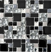 Mosaik Fliese Transluzent Edelstahl schwarz