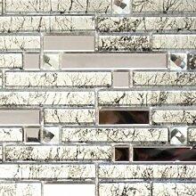 Mosaik Fliese Transluzent Edelstahl silber Verbund