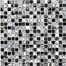 Mosaik Fliese Transluzent grau schwarz Glasmosaik