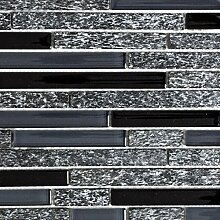 Mosaik Fliese Transluzent grau schwarz Verbund
