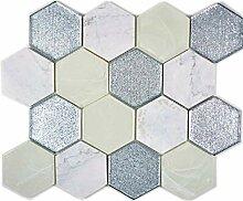 Mosaik Fliese Transluzent grau silber Hexagon
