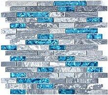 Mosaik Fliese Transluzent grau Verbund Glasmosaik