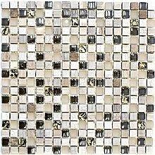 Mosaik Fliese Transluzent hellgrau gold Glasmosaik