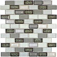 Mosaik Fliese Transluzent Keramik grau Brick