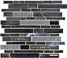 Mosaik Fliese Transluzent Keramik schwarz Verbund