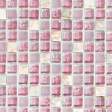 Mosaik Fliese Transluzent rosa Glasmosaik Crystal