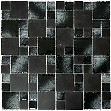 Mosaik Fliese Transluzent schwarz Kombination