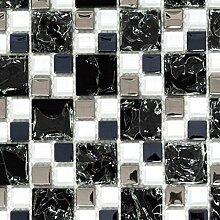 Mosaik Fliese Transluzent schwarz silber