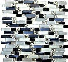 Mosaik Fliese Transluzent weiß grau schwarz