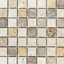 Mosaik Fliese Travertin Naturstein beige braun
