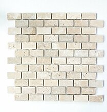 Mosaik Fliese Travertin Naturstein beige Brick