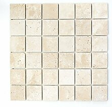 Mosaik Fliese Travertin Naturstein beige Chiaro
