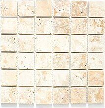 Mosaik Fliese Travertin Naturstein gelb Gold