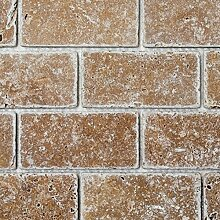 Mosaik Fliese Travertin Naturstein walnuss Brick