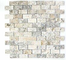 Mosaik Fliese Travertin Naturstein weißgrau Brick