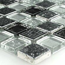 Mosaik Fliesen Glas Naturstein Silber Grau