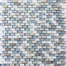 Mosaik Fliesen Matte in Weiß, Blau und Silber aus