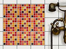 Mosaik Fliesensticker| Fliesenaufkleber zur Wandgestaltung | Selbstklebende Fliesenbilder - Küchenfliesen und Badezimmer-Fliesen renovieren | 10x10 cm - Mosaik Rot-Orange - 9 Stück