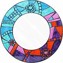 Mosaik Glas Wandspiegel rund