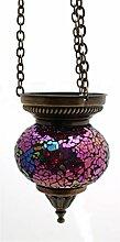 Mosaik Lampe Hängelampe Windlicht Pendelleuchte Aussenleuchte Deckenleuchte aus Glas rosa/multi Teelichthalter Orientalisch Handarbeit dekoration - Gall&Zick