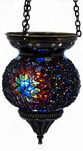 Mosaik Lampe Hängelampe Windlicht Pendelleuchte Aussenleuchte Deckenleuchte aus Glas multi Teelichthalter Orientalisch Handarbeit dekoration - Gall&Zick