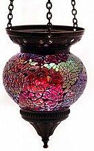 Mosaik Lampe Hängelampe Windlicht Pendelleuchte Aussenleuchte Deckenleuchte aus Glas rosa Teelichthalter Orientalisch Handarbeit dekoration - Gall&Zick