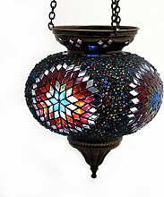 Mosaik Lampe Hängelampe Windlicht Pendelleuchte Aussenleuchte Deckenleuchte aus Glas bunt Teelichthalter Orientalisch Handarbeit dekoration - Gall&Zick