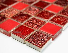 Mosaik-Netzwerk Mosaikfliese Quadrat Crystal/Stein/Resin mix rot Glas Naturstein Ornament Fliesenspiegel, Mosaikstein Format: 23x23x8 mm, Bogengröße: 300x325 mm, 1 Bogen / Matte