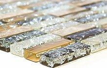 Mosaik-Netzwerk MosaikflieseStäbchen Crystal/Stein mix emperador hell Glasmosaik Transluzent Transparent 3D, Mosaikstein Format: 15x50x8 mm, Bogengröße: 322x310 mm, 1 Bogen / Matte