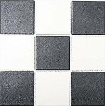 Mosaikfliese Keramik chachbrett schwarz weiß