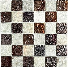 Mosaikfliese Quadrat Glasmosaik Naturstein Crystal Tranparent mix Design Quarzit grau I 1 Bogen