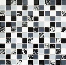 Mosaikfliese selbstklebend Transluzent weiß grau