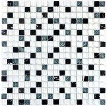 Mosaikfliese Transluzent weiß grau Glasmosaik
