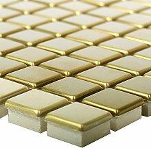 Mosaikfliesen Edelstahl Metall Baikal Gold | Wand
