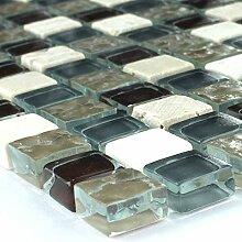 Mosaikfliesen Glas mit Naturstein Ches
