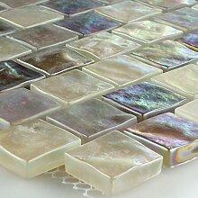 Mosaikfliesen Glas Mosaik Perlmutt Effekt Creme