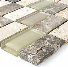 Mosaikfliesen Glas Naturstein Beige Braun Brick