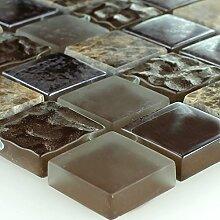 Mosaikfliesen Glas Naturstein Braun Getrommel