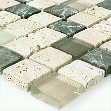 Mosaikfliesen Glas Naturstein Cream Grün Mix