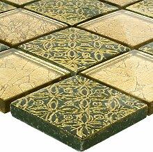 Mosaikfliesen Glas Naturstein Friesia Gold